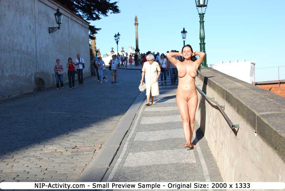 Enza has fun on public streets